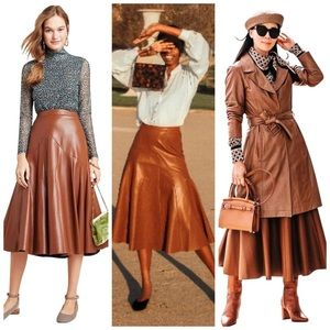 Anthropologie Mariska Faux Leather Midi Skirt 6